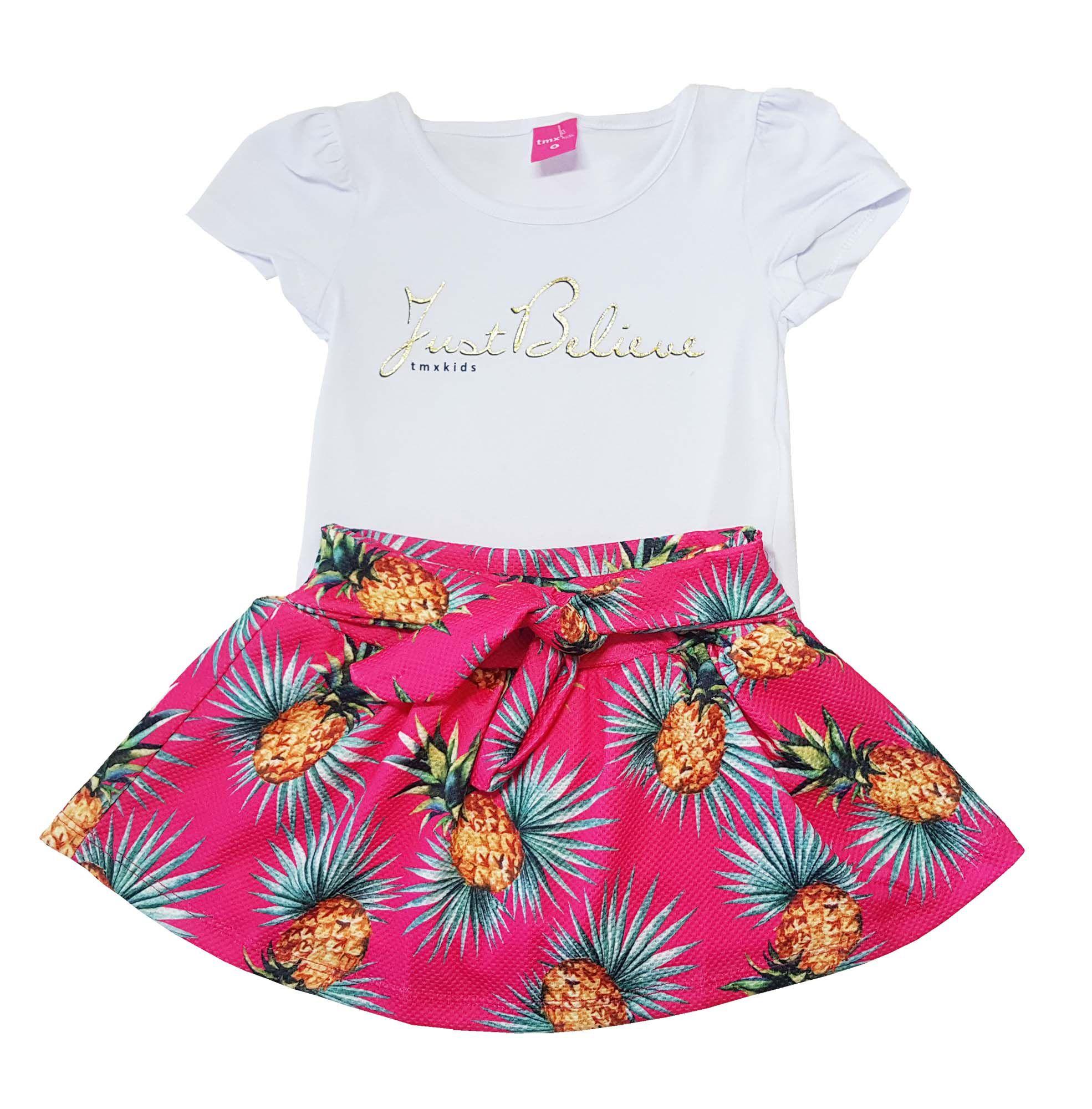 Conjunto Infantil Blusa e Saia-Shorts TMX  Just Believe Pink