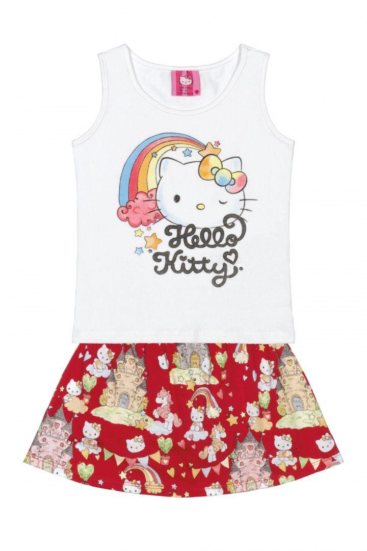 Conjunto Blusa e Shorts Saia Hello Kitty Castelo Branco/Vermelho