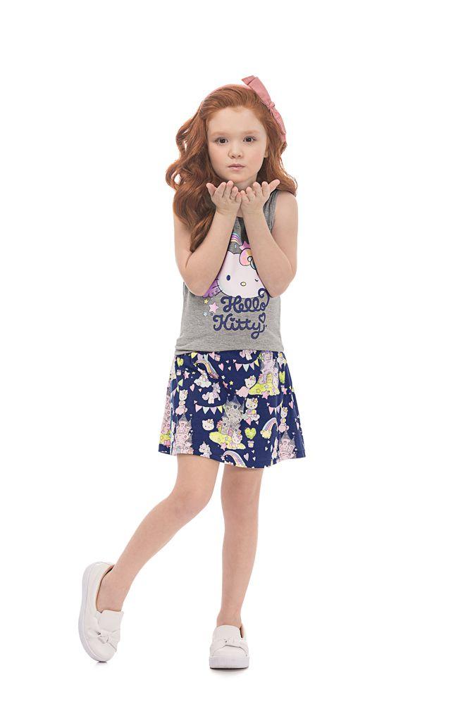 33c7e8a54 ... Conjunto Blusa e Shorts Saia Hello Kitty Castelo Mescla Azul   Tamanho  6 - Sonho ...