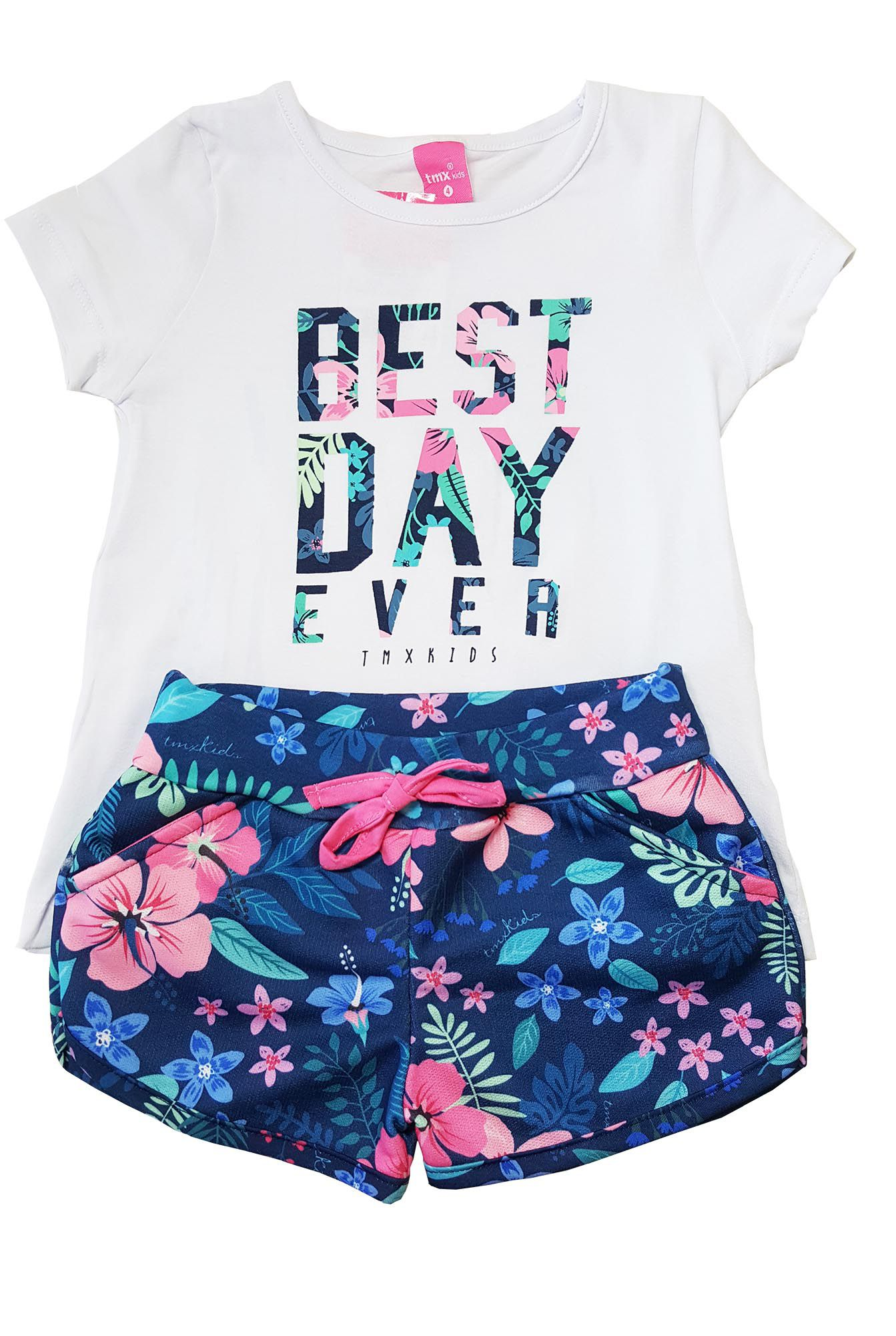 Conjunto Blusa e Shorts TMX  Best Day Branco/Marinho