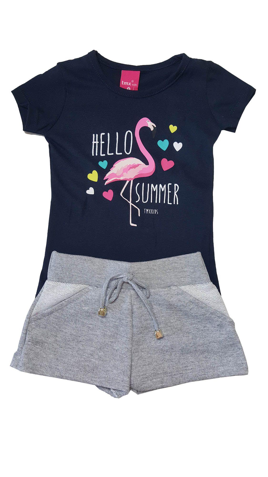 Conjunto Blusa e Shorts TMX  Hello Summer Marinho/Mescla / Tamanho 1