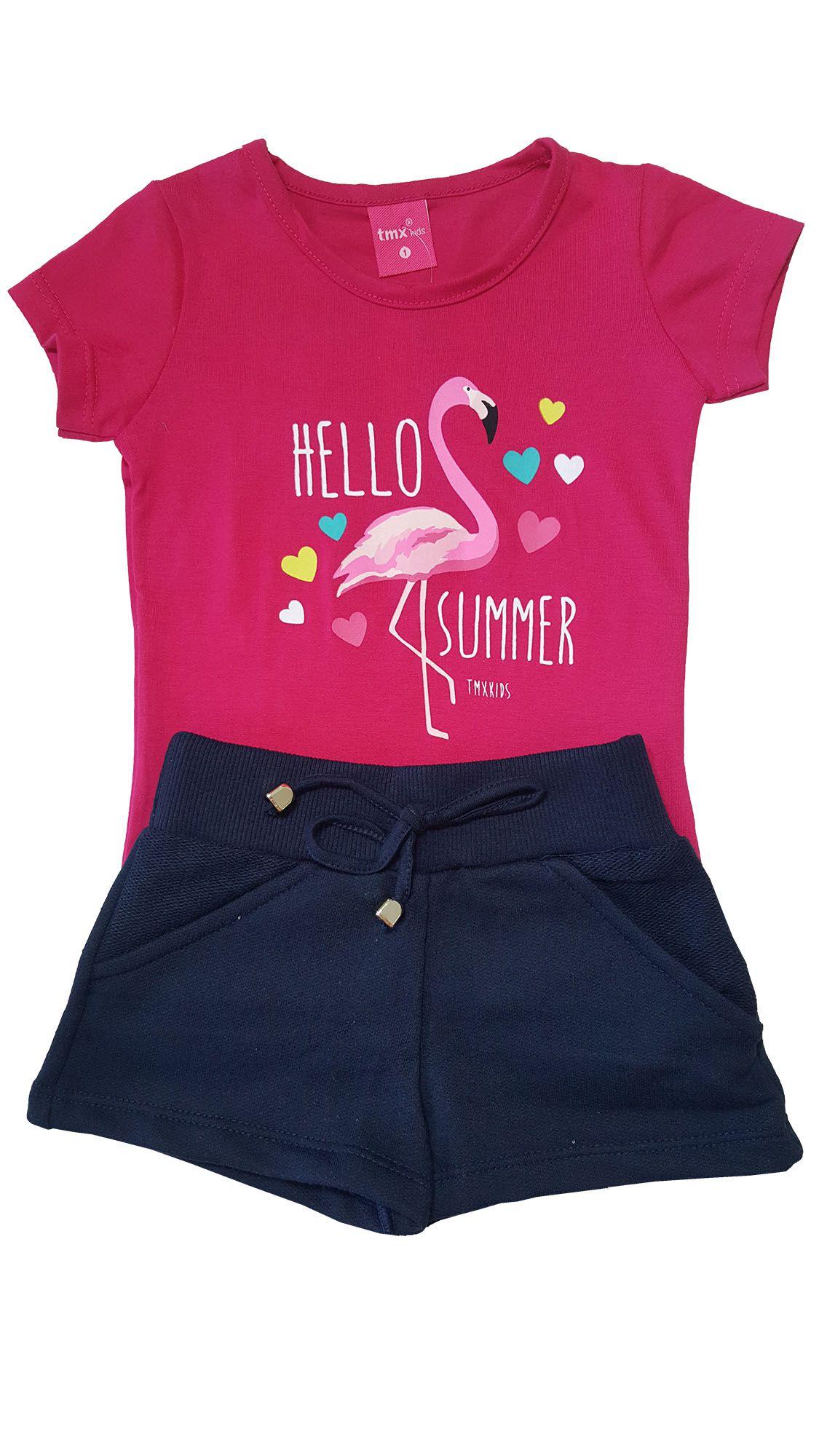 Conjunto Blusa e Shorts TMX  Hello Summer PinK/Marinho  Tamanho 2