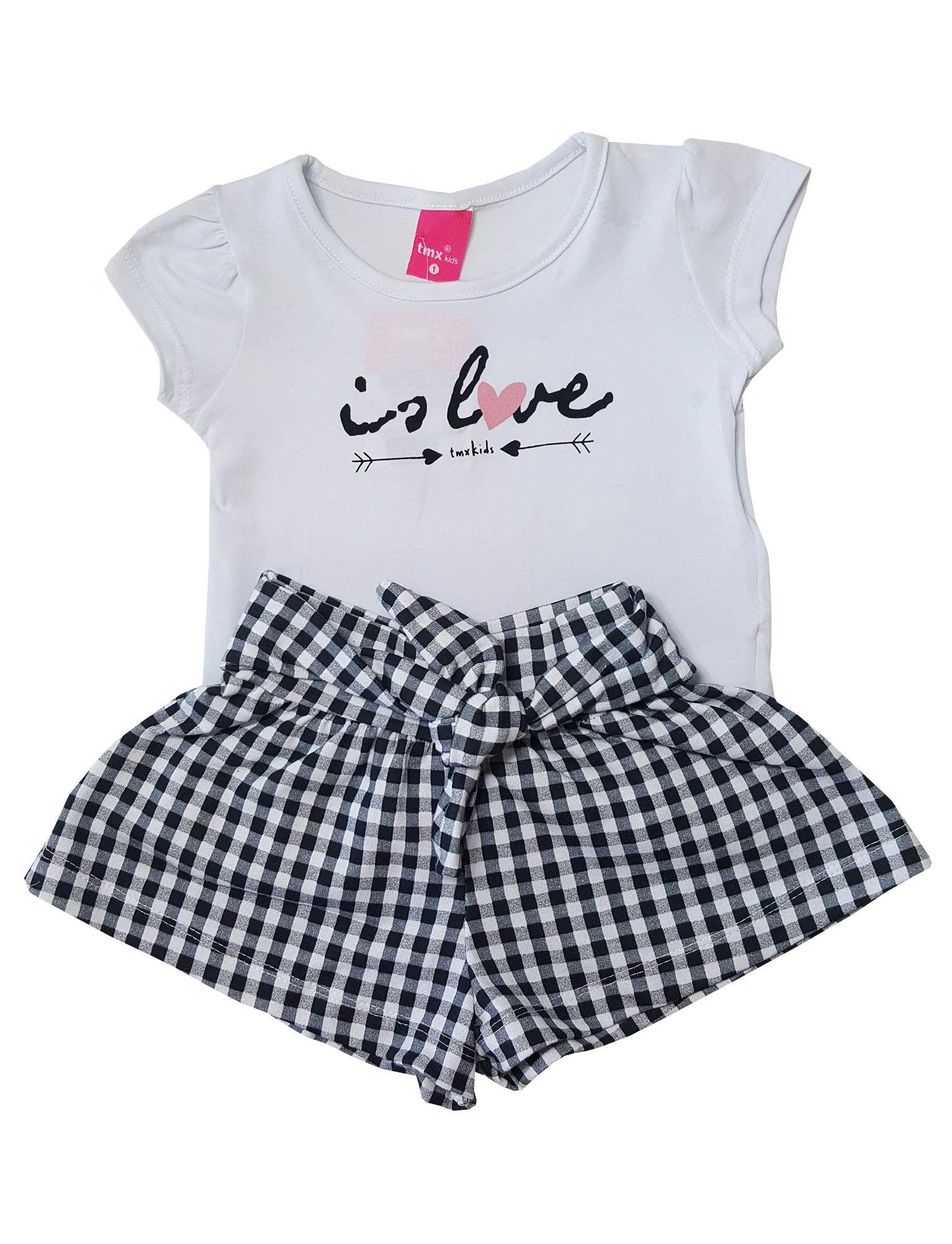 Conjunto Blusa e Shorts TMX  Is Love Xadrez Branco e Preto /Tamanho 2