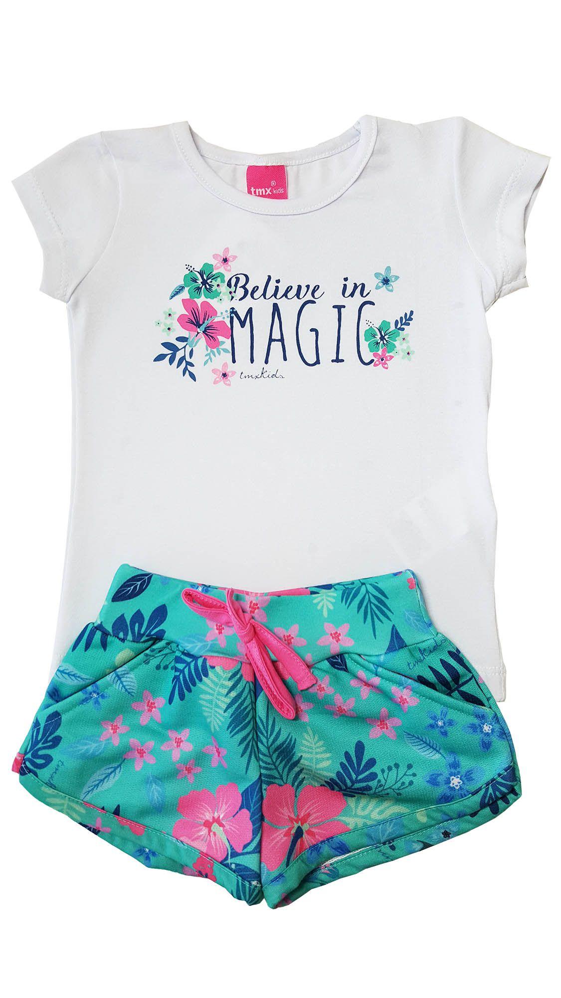 Conjunto Blusa e Shorts TMX  Magic Branco/Verde / Tamanho 2