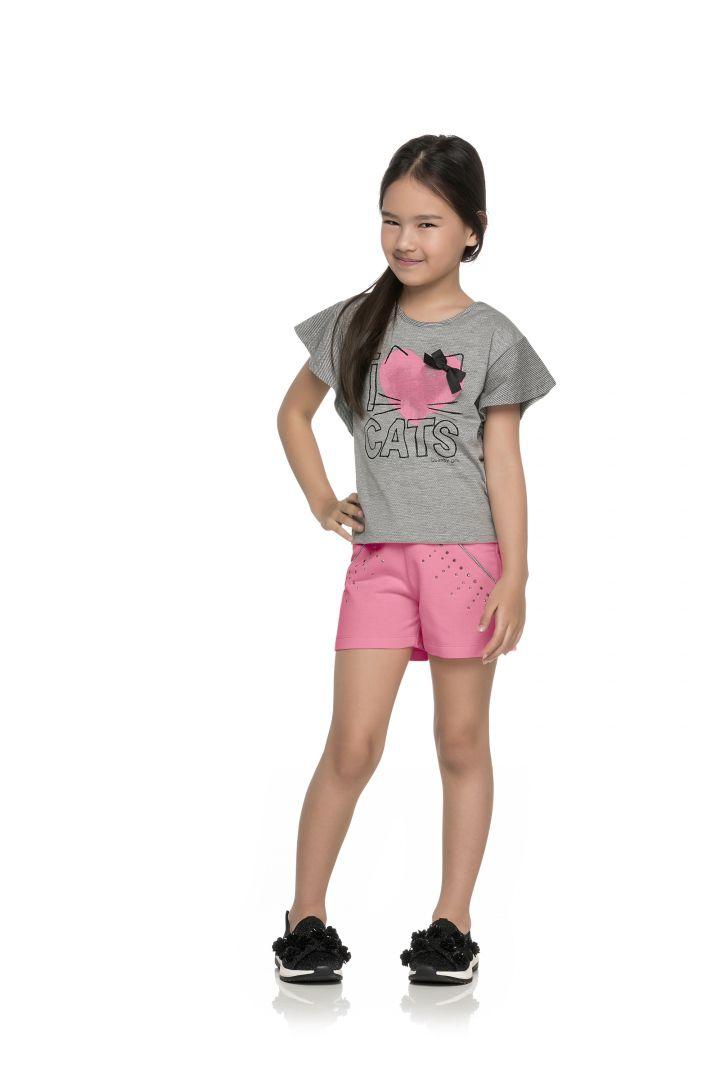 Conjunto blusa em malha trabalhada e shorts em moletinho Quimby  Cats Mescla/Rosa
