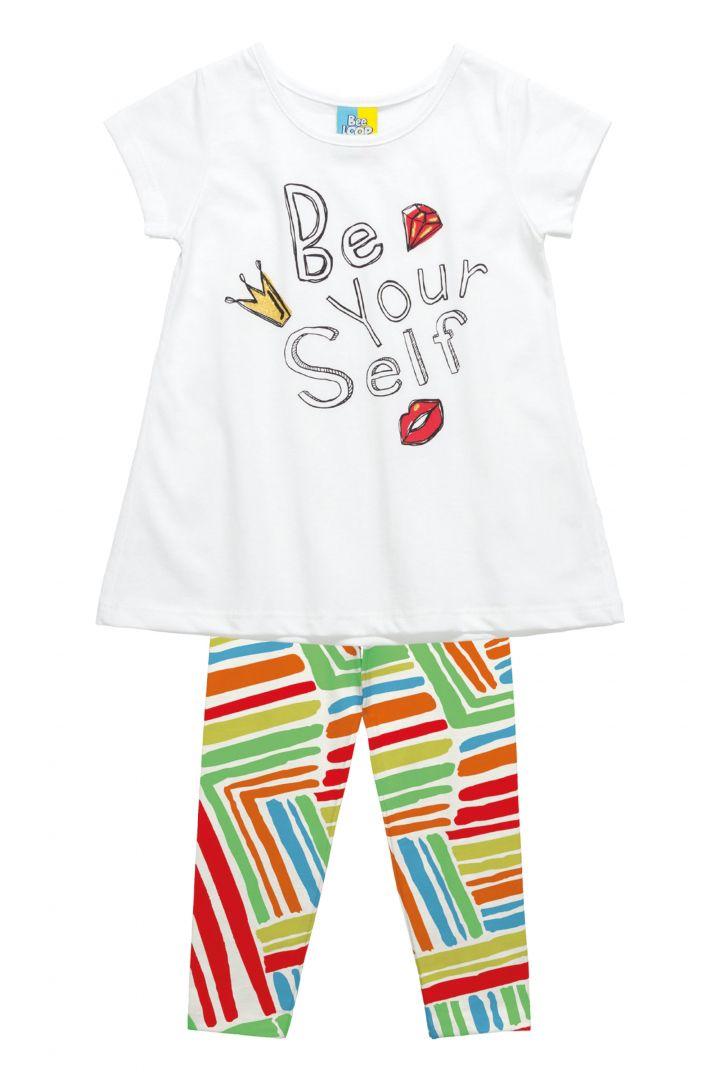 Conjunto Infantil Blusa em Meia Malha  e Legging em cotton Bee Loop Be Your Self