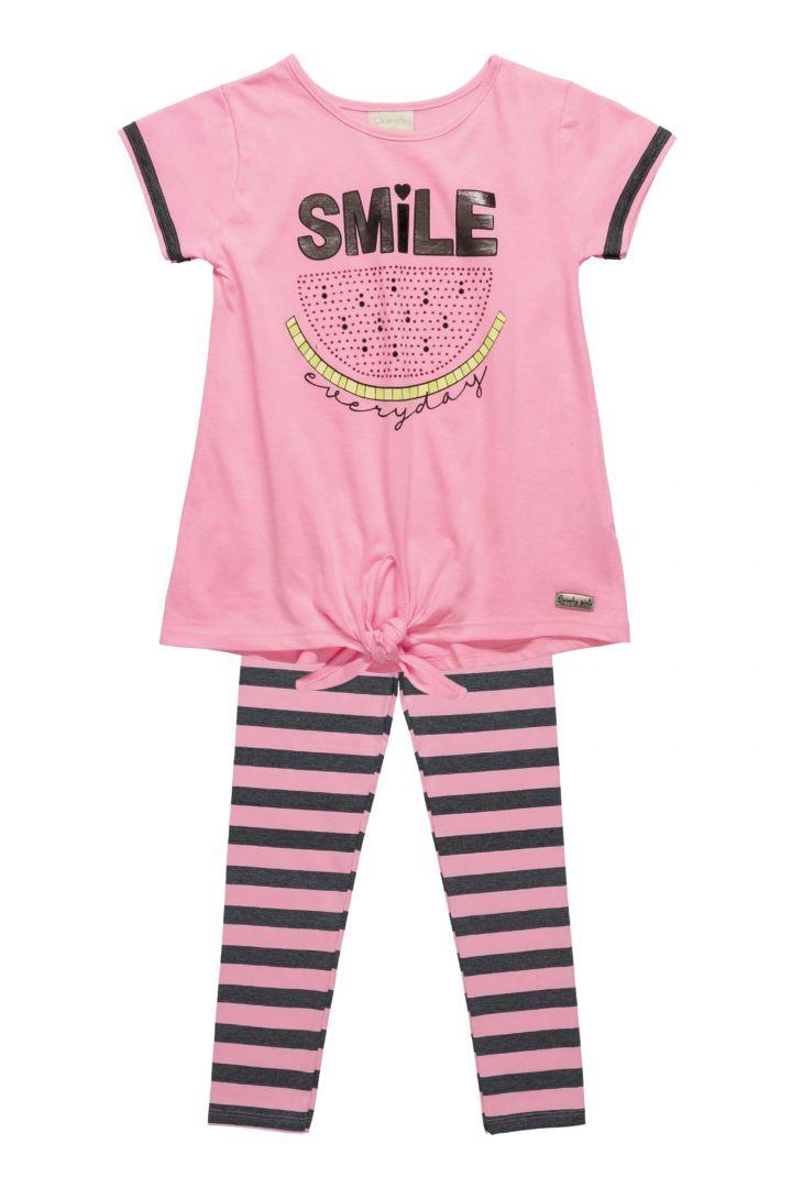 Conjunto blusa em meia malha e legging em cotton fio tinto Quimby  Smile