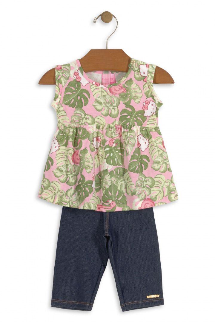 Conjunto Bebê Blusa Malha e Calça Jeans Hello Kitty Baby Folhagem