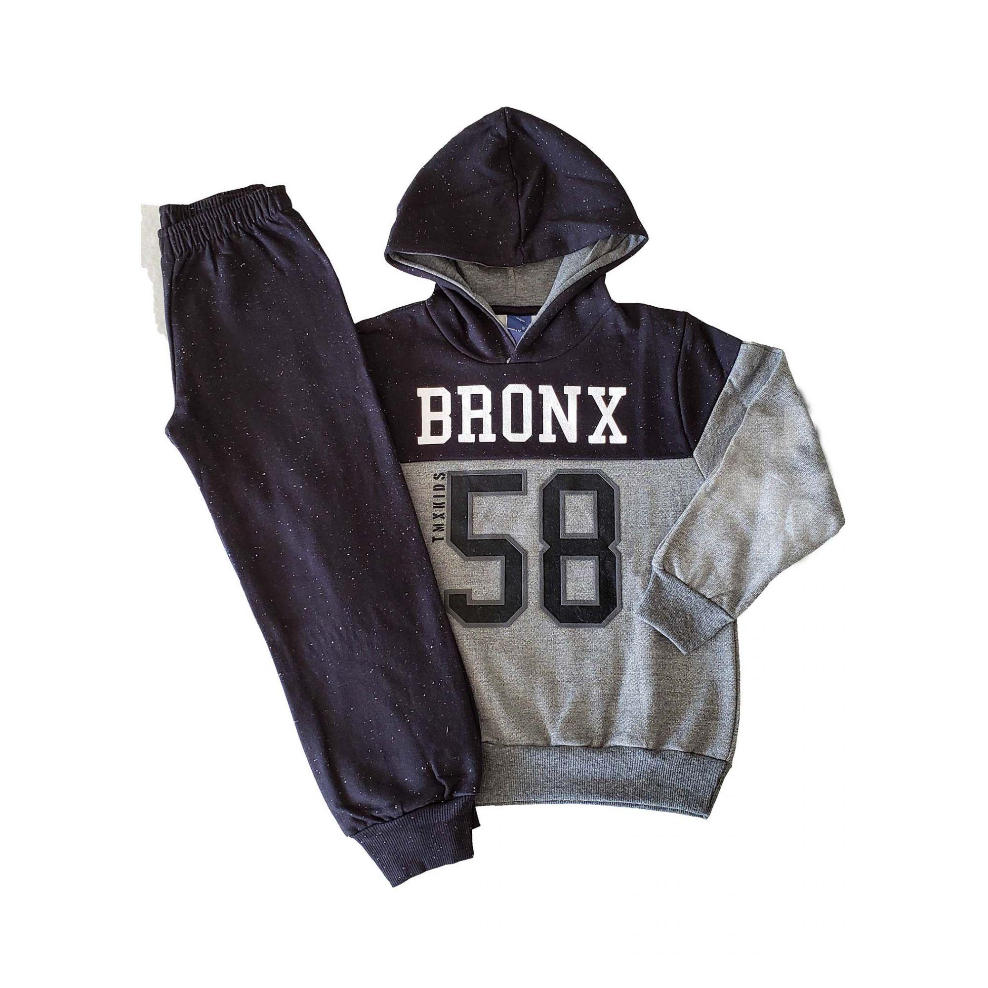 Conjunto Blusa Moletom com capuz e Calça Jogger Moletom Botonê  TMX Bronx Mescla Grafite/Preto