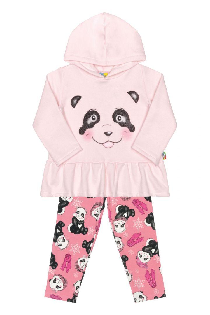 Conjunto infantil Blusão com Capuz e Legging Bee Loop Panda Rosa