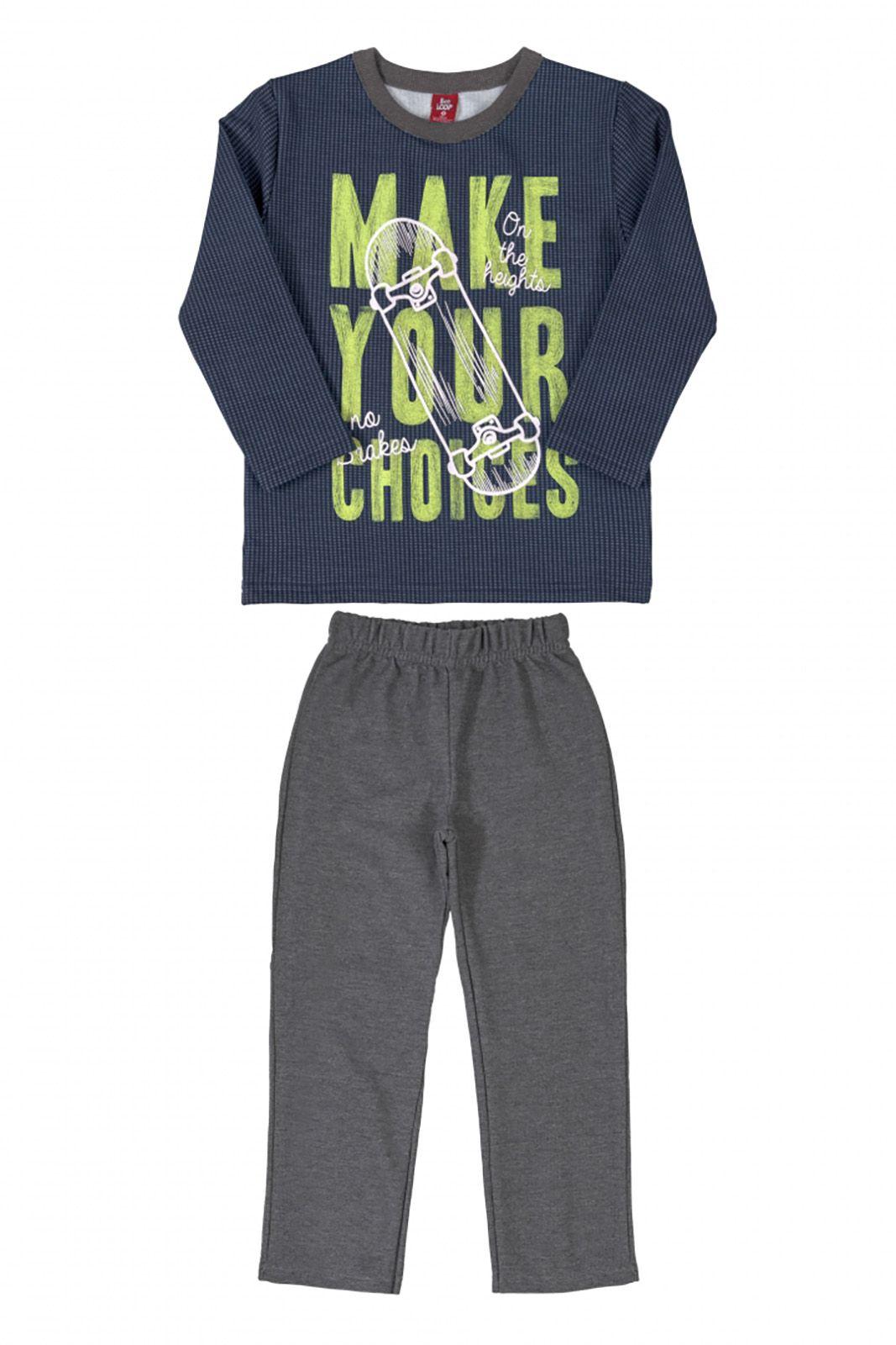 Conjunto Infantil Blusão e Calça em Moletom felpado Bee Loop Make Your Choices Marinho/Cinza