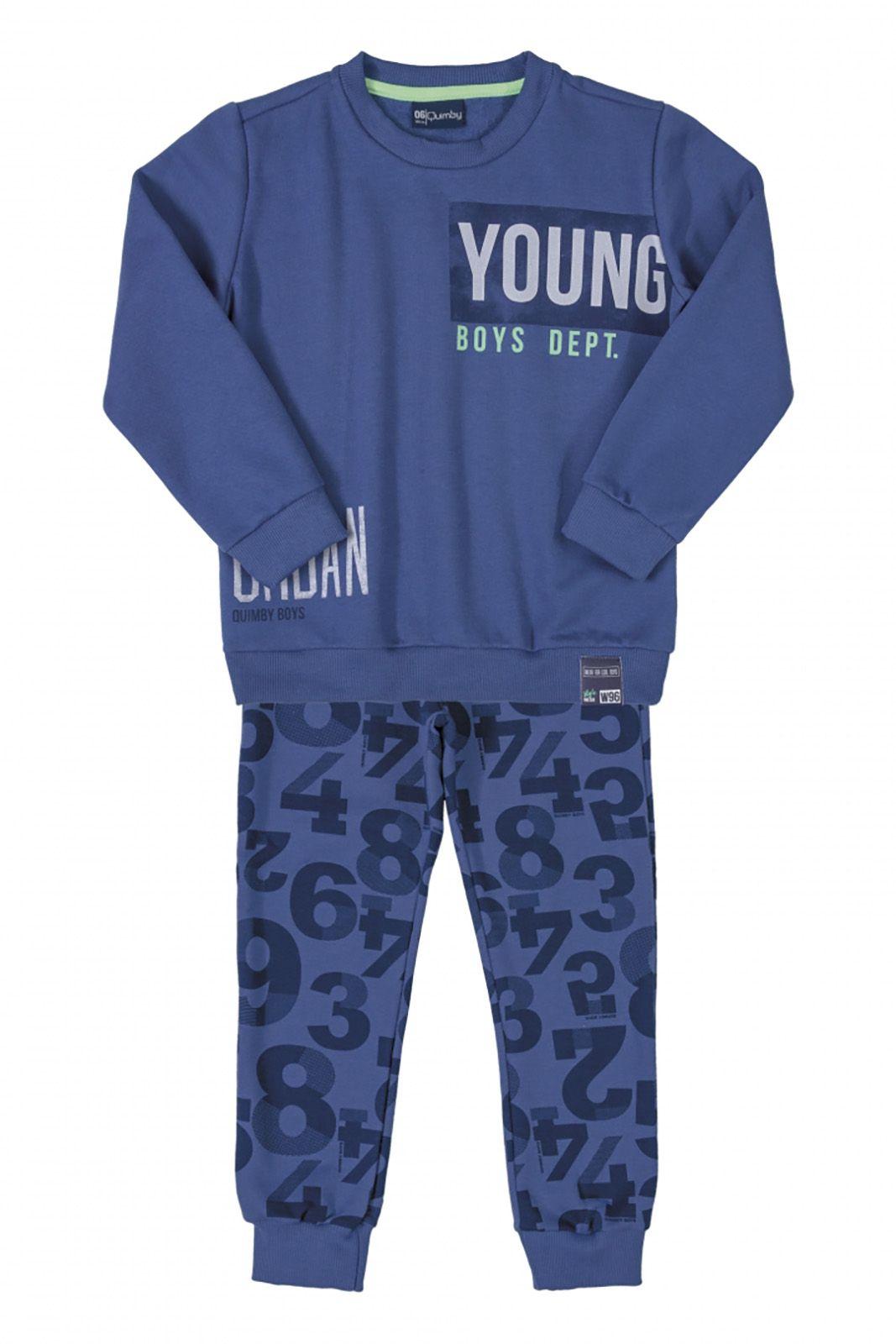 Conjunto Infantil Blusão e Calça Moletom Quimby You Azul