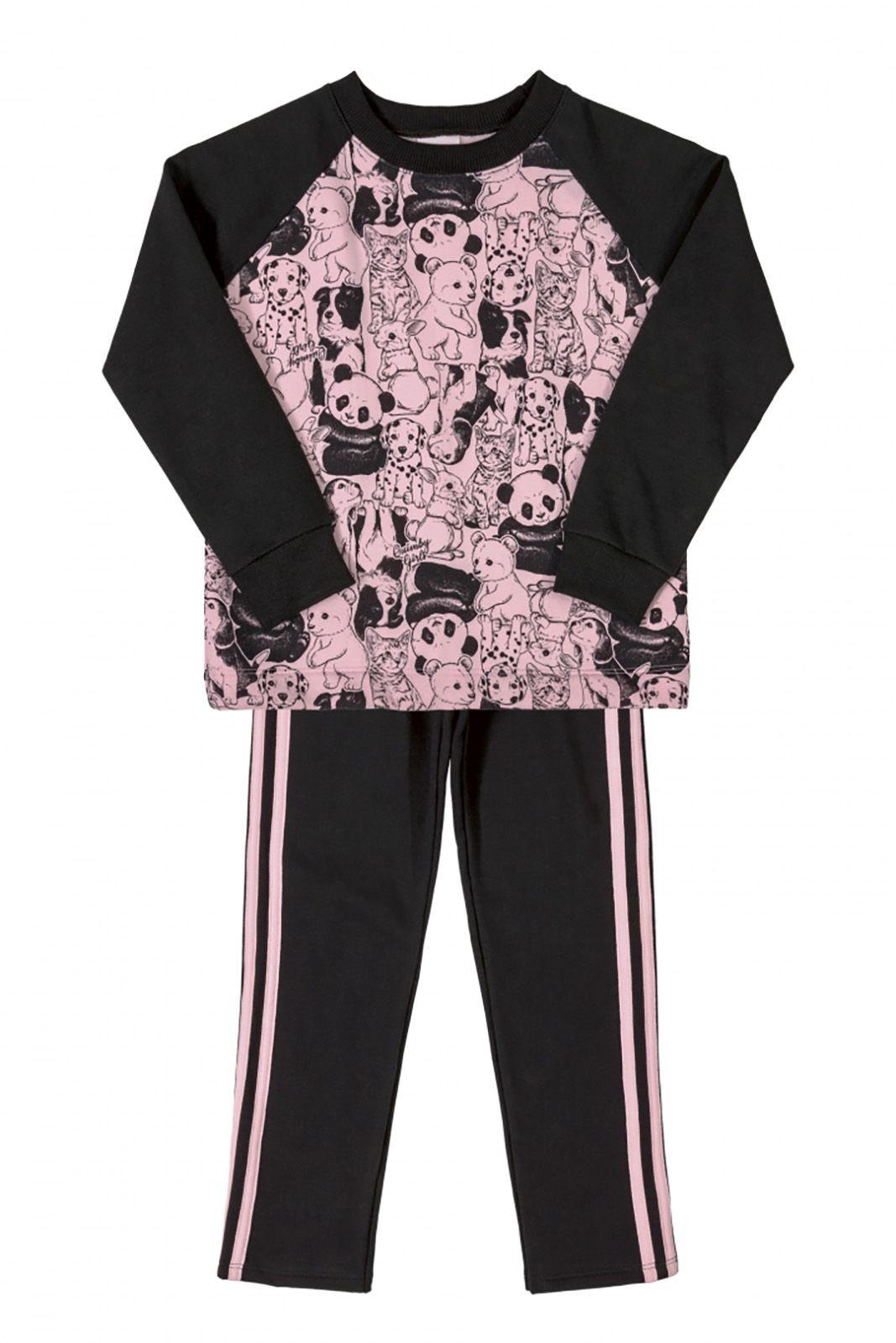 Conjunto blusão em moletom e legging em molecotton Quimby Panda rosa preto