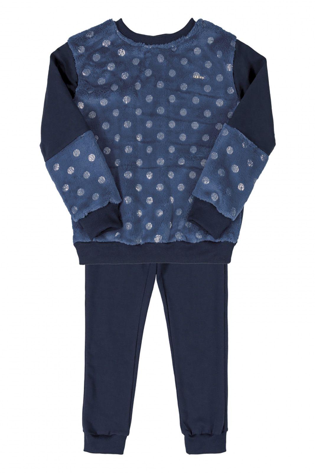 Conjunto Infantil Blusão em pelo sintético e molecoton  e calça em molecotton Quimby Azul