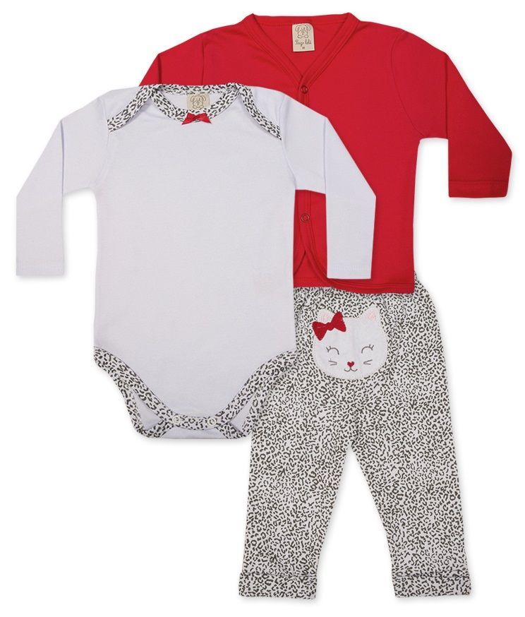 Conjunto Body manga longa, Calça e Casaco Pingo Lelê Vermelho/ Branco Oncinha