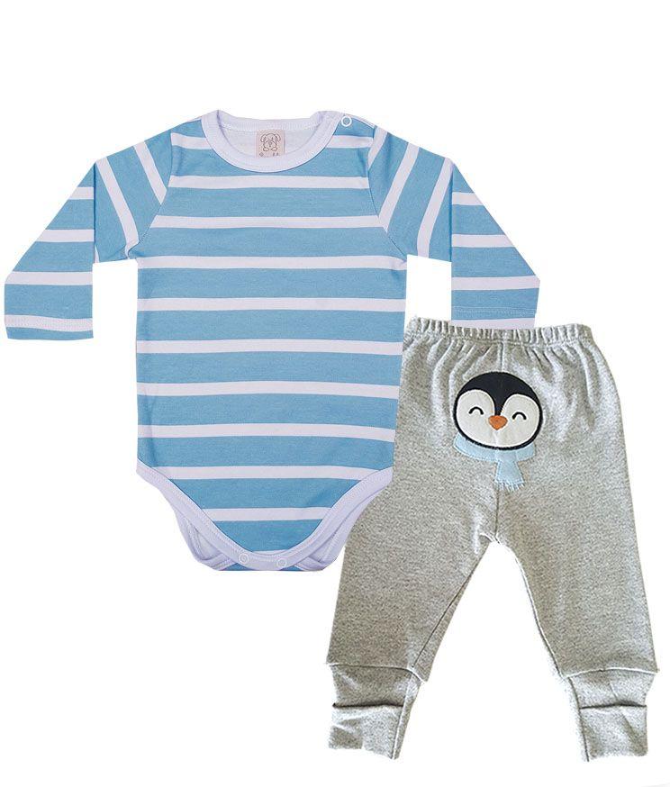 Conjunto Body manga longa e Calça  Pingo Lelê Azul/Mescla Pinguim