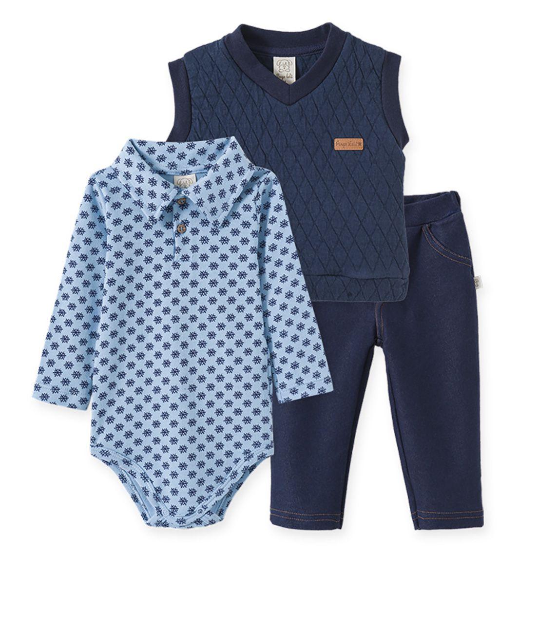 Conjunto Bebê Body Gola Polo Suedine, Calça  Cotton Jeans e Colete Metalassê Pelo Pingo Lelê  Flocos de Neve Azul