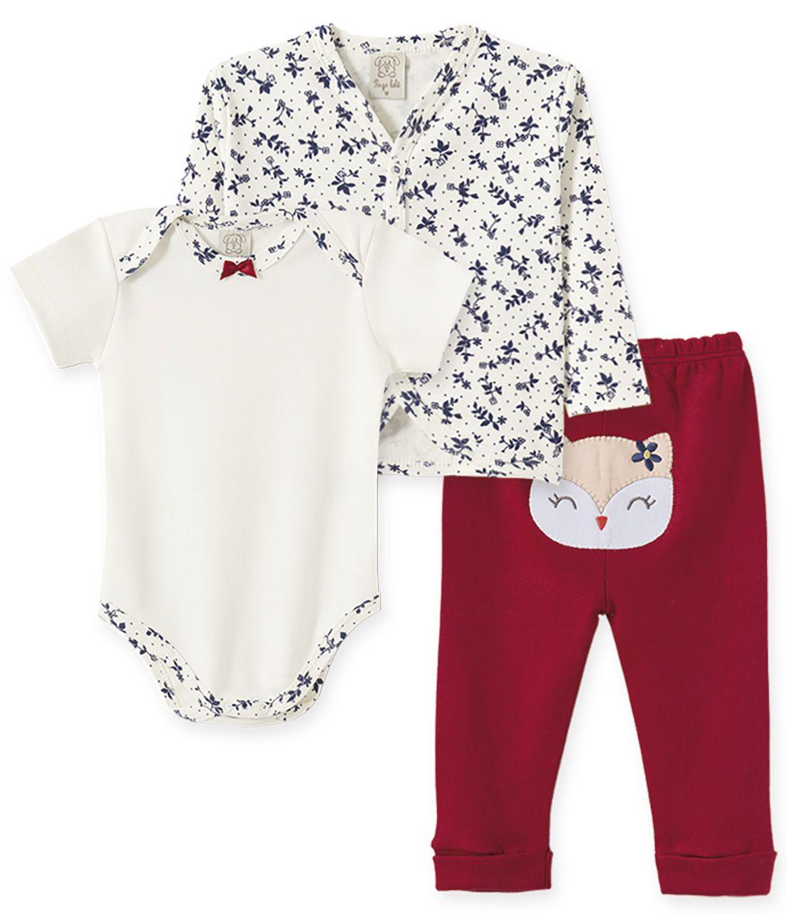 Conjunto bebê Body manga curta, Calça e Casaco Pingo Lelê Coruja Floral