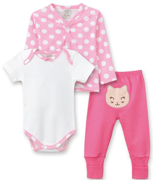 Conjunto Body manga curta, Calça e Casaco Pingo Lelê Gatinha Pink Poa