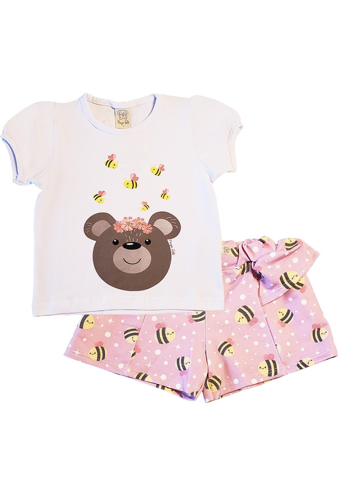 Conjunto Infantil Camiseta  manga curta com  short Pingo Lelê  Abelha Rosa e Branco