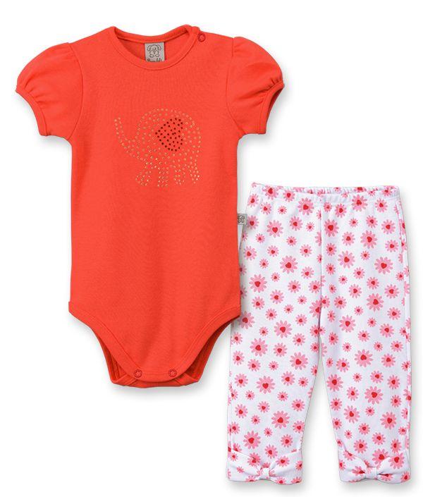 Conjunto Bebê Body manga curta e Calça  Pingo Lelê Elefantinho Vermelho Margarida