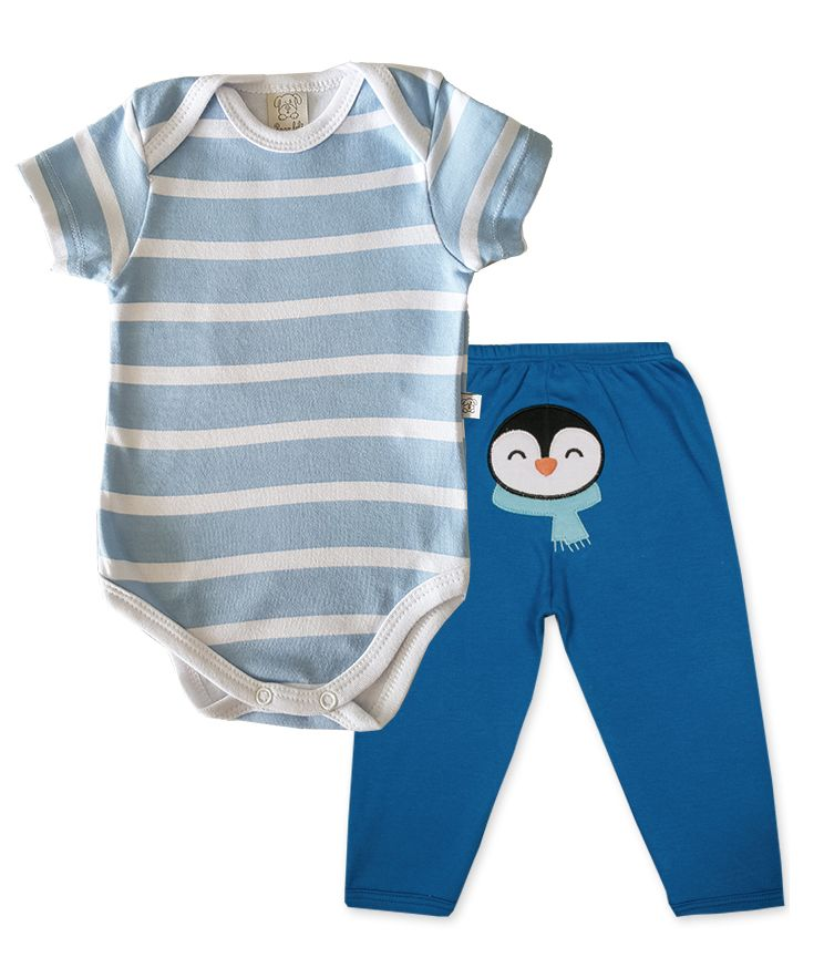 Conjunto Bebê Body manga curta e Calça  Pingo Lelê  Royal Pinguim