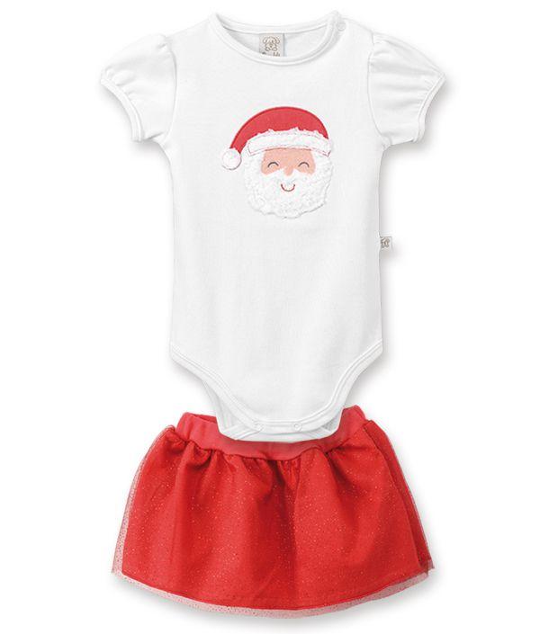Conjunto Bebê Body  manga curta e saia Pingo Lelê  Papai Noel