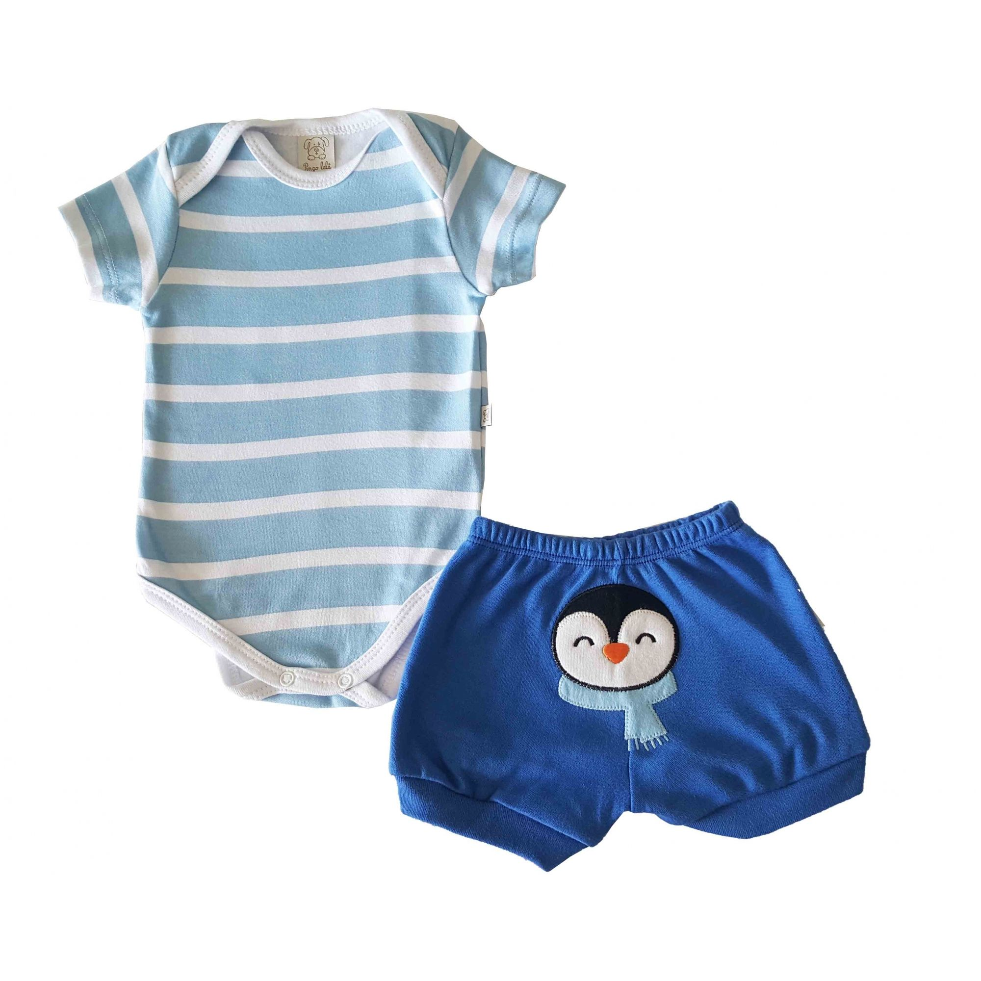 Conjunto Body manga curta e Short  Pingo Lelê  Royal Pinguim