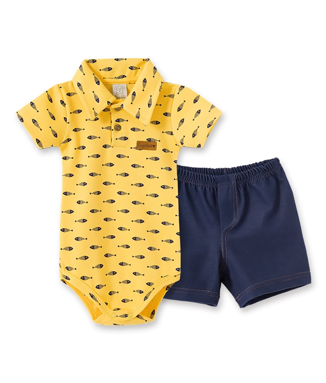 Conjunto Infantil Body manga curta gola polo com short Cotton Jeans Pingo Lelê Peixes Amarelo