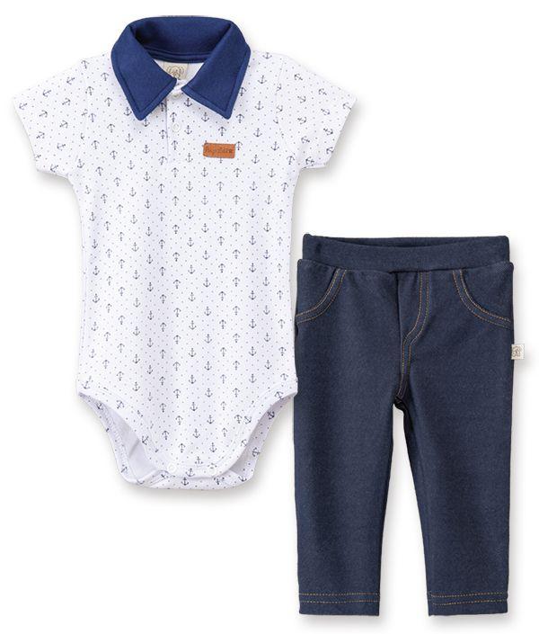 Conjunto Body Manga Curta Gola Polo e Calça Cotton Jeans Pingo Lelê Ancora Marinho