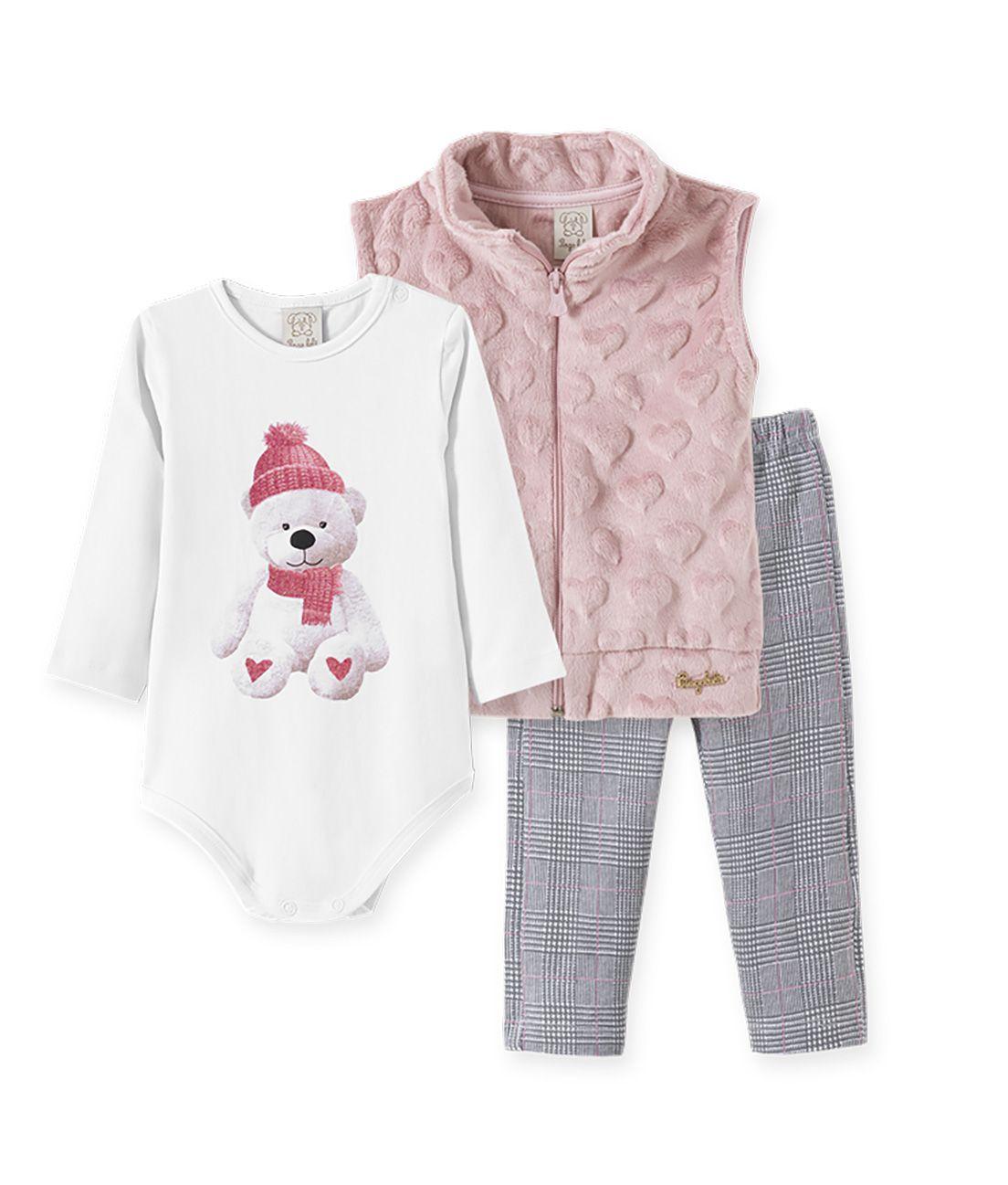 Conjunto body manga longa, Calça Cotton e Colete  Pelo Pingo Lelê ursinha  xadrez e rosa