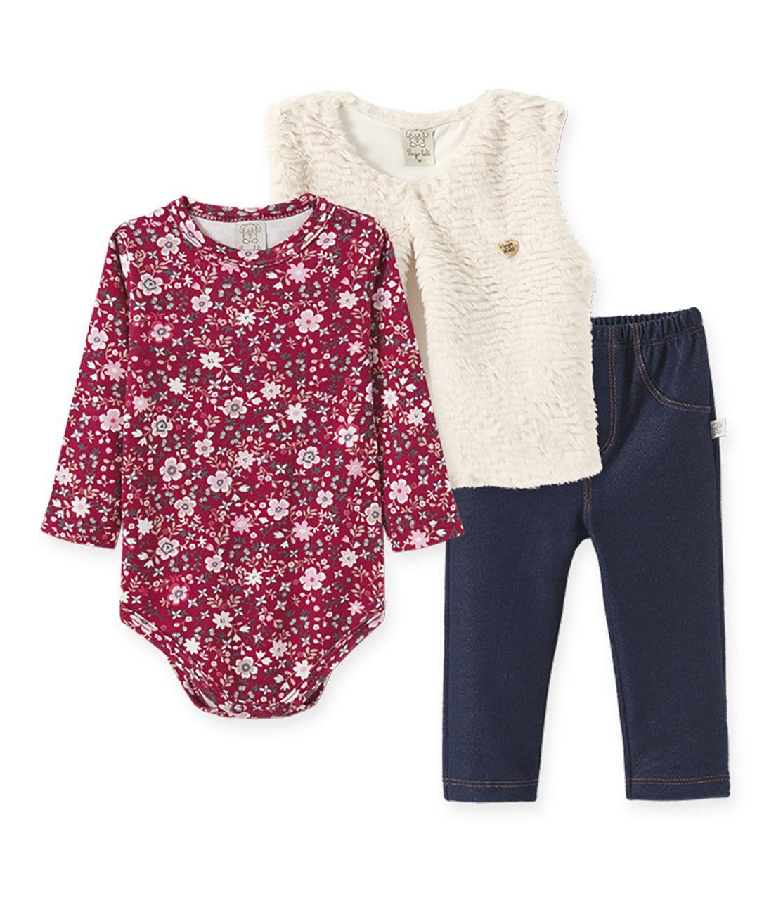 Conjunto Body manga longa, Calça Cotton Jeans e Colete Pelo Pingo Lelê  Floral Folk