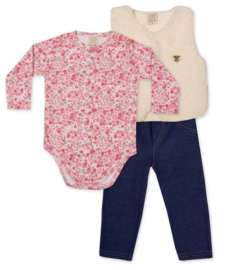 Conjunto Body manga longa, Calça Cotton Jeans e Colete Pelo Pingo Lelê  Rosa