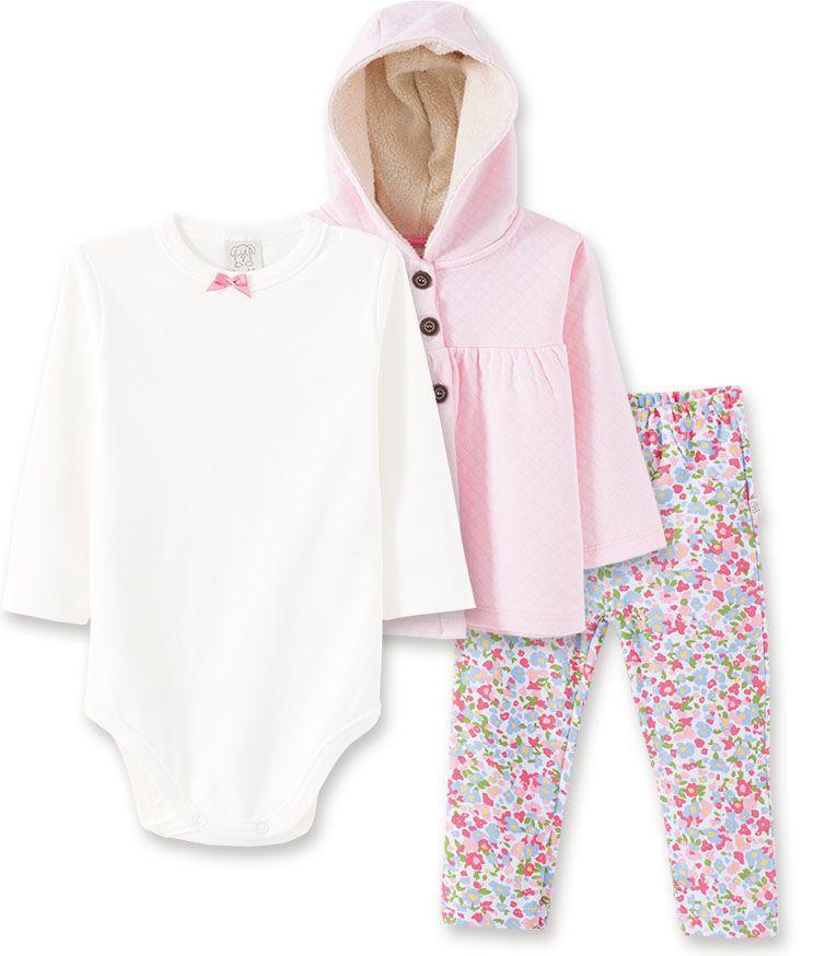 Conjunto Bebê Body manga longa, Calça e Casaco  Metalassê com capuz Pingo Lelê Rosa Floral