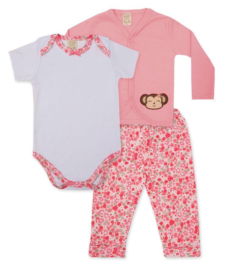 Conjunto Body manga longa, Calça e Casaco Pingo Lelê Rosa/ Branco Floral