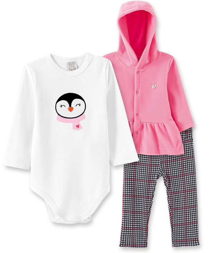 Conjunto Bebê Body manga longa, Calça e Casacos  soft com capuz Pingo Lelê Pinguim Xadrez Rosa