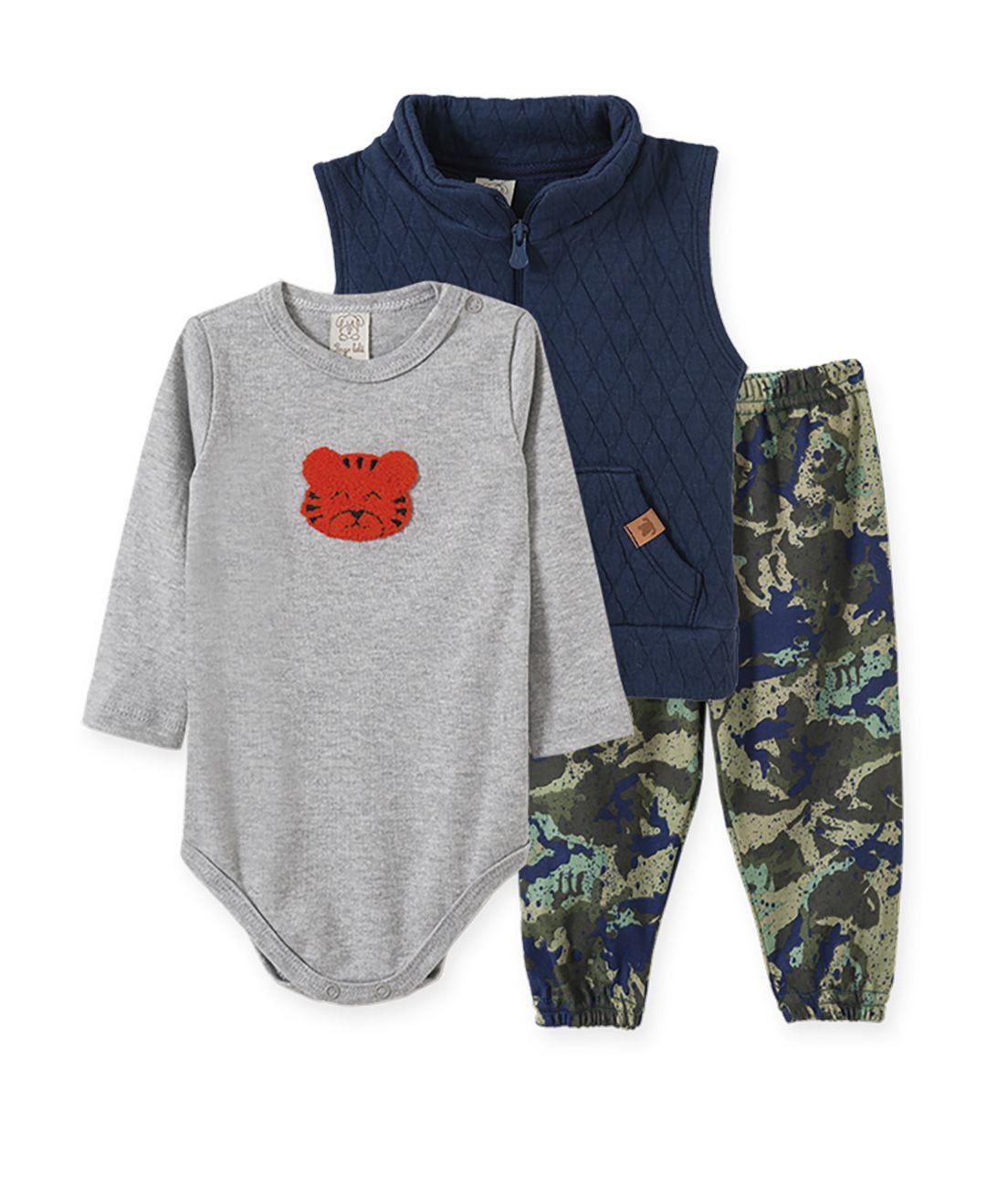 Conjunto Body manga longa, Calça e Colete Metalassê Pingo Lelê marinho, mescla e camuflado