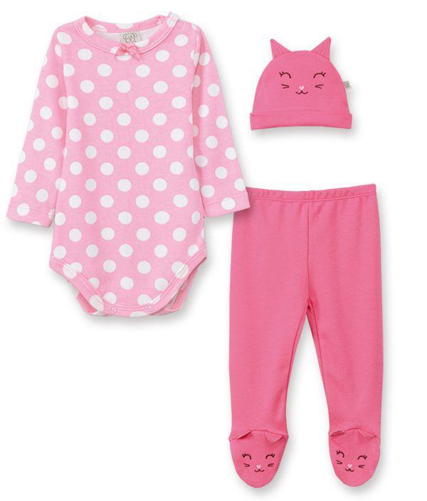 Conjunto Body manga longa, Calça e touca Pingo Lelê  Gatinha Pink Poa /Tamanho M