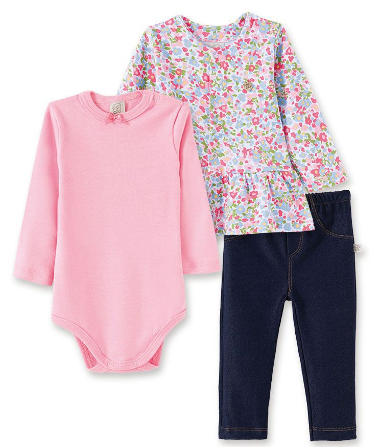 Conjunto Body manga longa, Calça Jeans e Casaco Pingo Lelê Rosa Floral