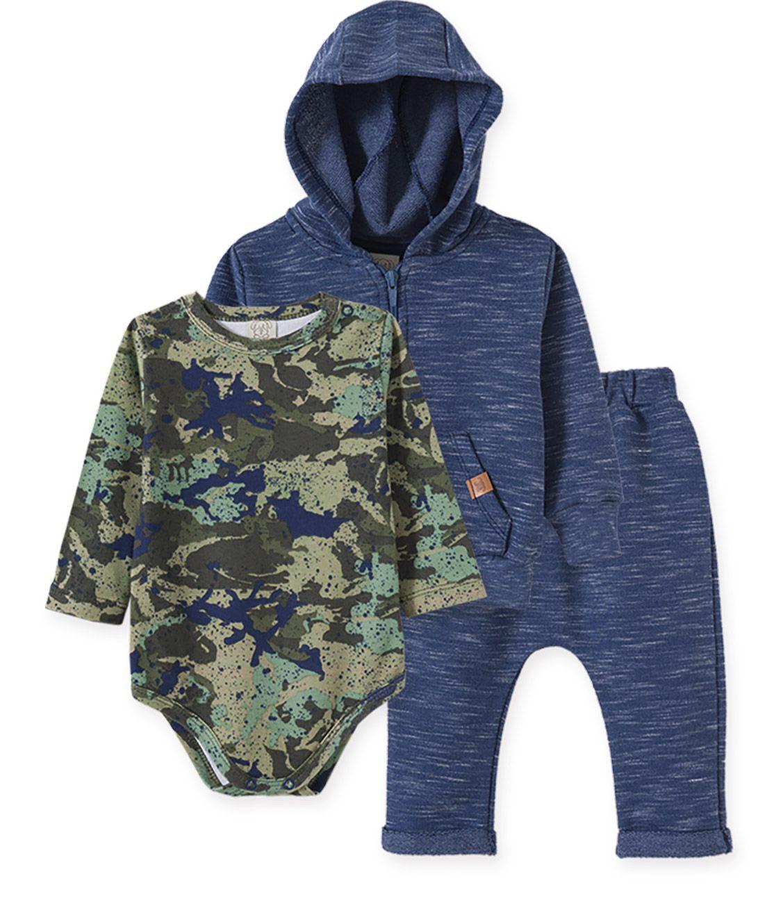 Conjunto Body manga longa, Calça Saruel e Casaco com capuz Pingo Lelê camuflado e azul