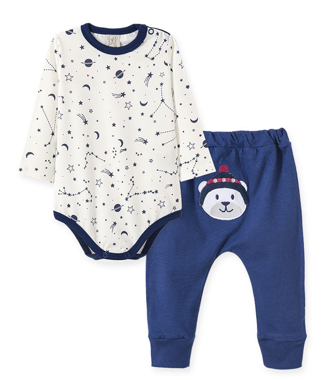 Conjunto Bebê body manga longa com calça saruel  Pingo Lelê Urso Polar Off White/Marinho