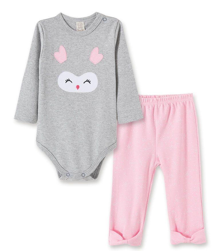 Conjunto bebê Body manga longa e Calça Pingo Lelê Corujinha Mescla/Rosa