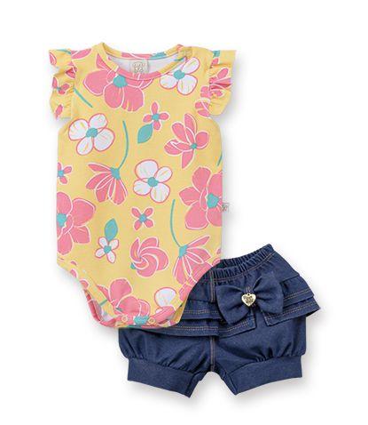 Conjunto Body Regata fru-fru  com  short Cotton Jeans Pingo Lelê Floral Amarelo / Tamanho 2