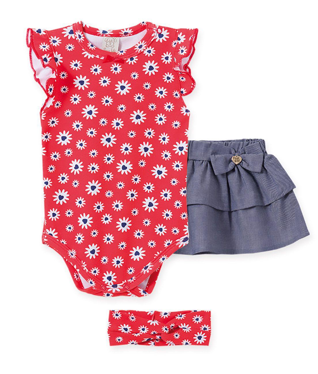 Conjunto Infantil Body  Regata Fru-fru, saia Jeans  e Faixa de cabelo Pingo Lelê Magarida Vermelho