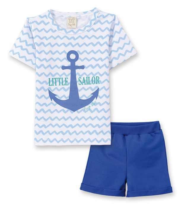 Conjunto camiseta com bermuda Pingo Lelê Chevron Azul