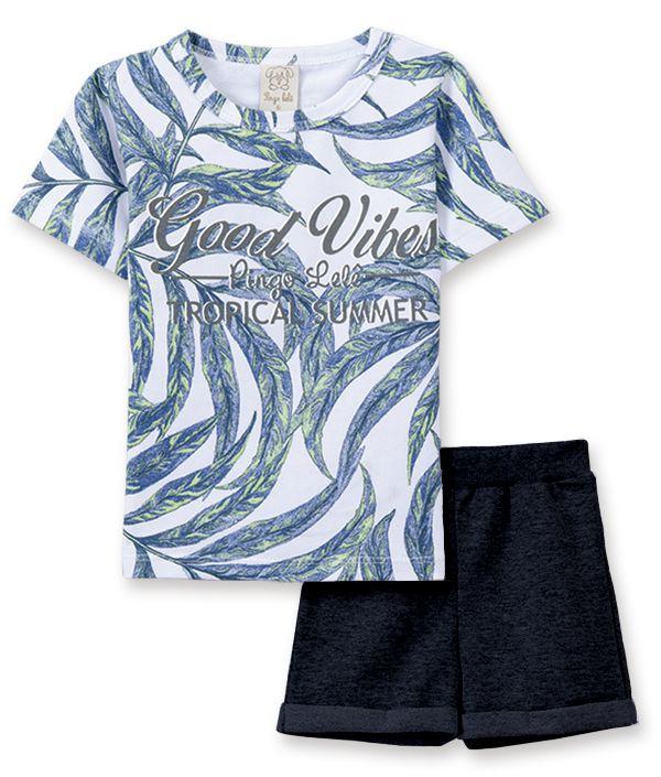 Conjunto Infantil camiseta com bermuda Pingo Lelê Folhagem Marinho