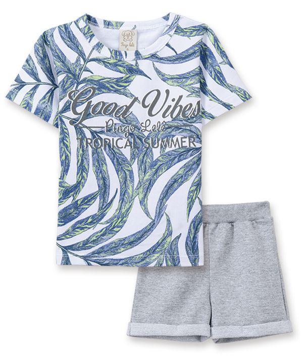 Conjunto camiseta com bermuda Pingo Lelê Folhagem Mescla