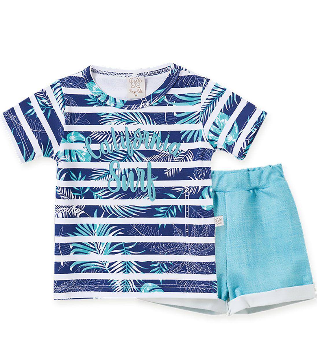 Conjunto Infantil camiseta com Shorts Pingo Lelê Califórnia Surf
