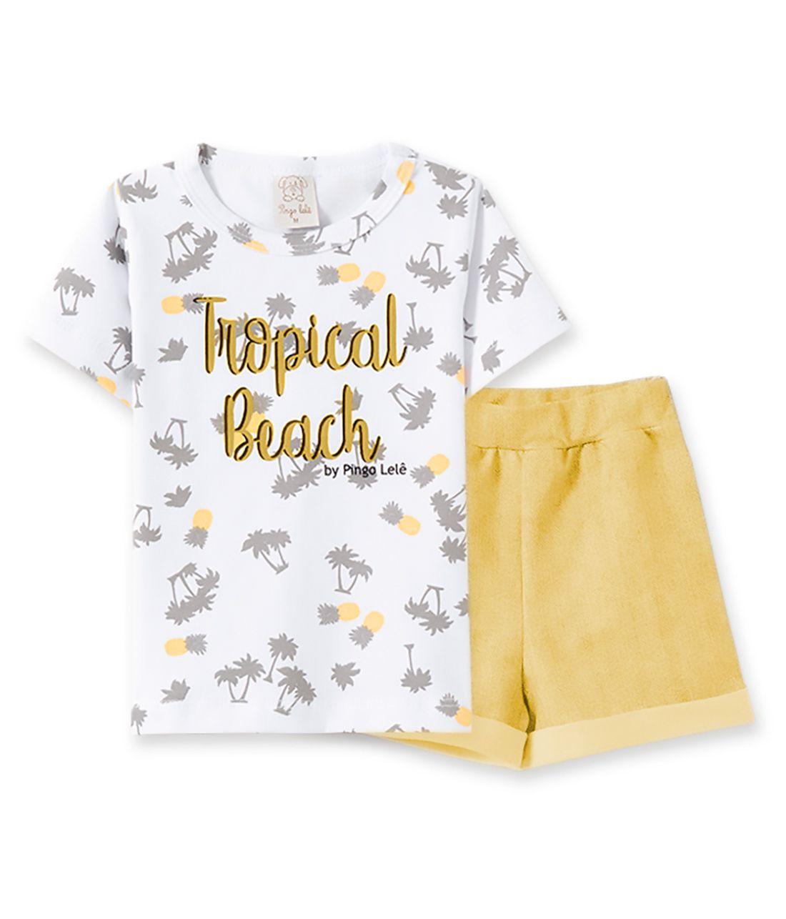 Conjunto Infantil camiseta com Shorts Pingo Lelê Tropical Beach Amarelo