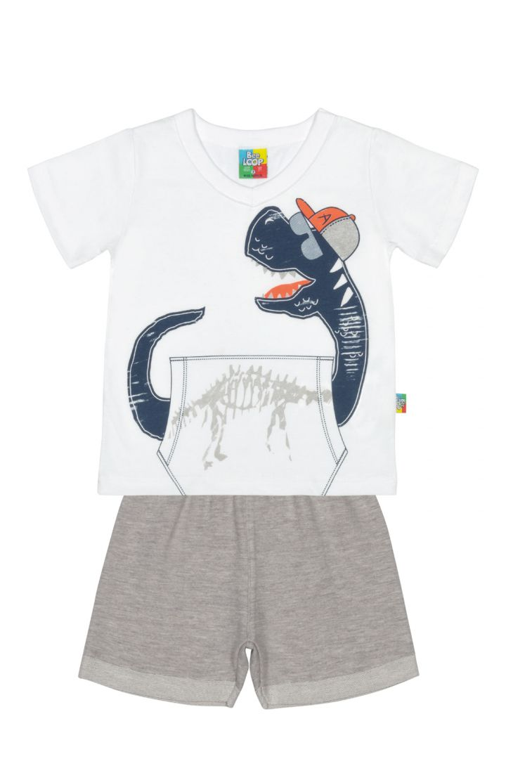Conjunto Camiseta e Bermuda Moletinho Bee Loop Dinossauro Branco / Tamanho 1